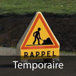 Signalisation temporaire (signalisation d'obstacles, de travaux, de chantiers mobiles ou fixes)